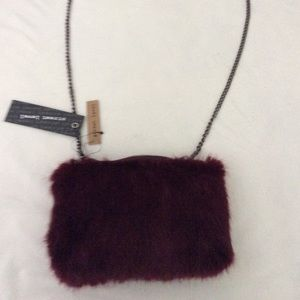 Street Level Burgundy Faux Fur Crossbody Purse